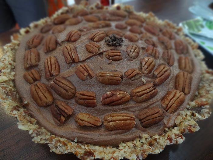 raw chocolate bourbon pecan pie